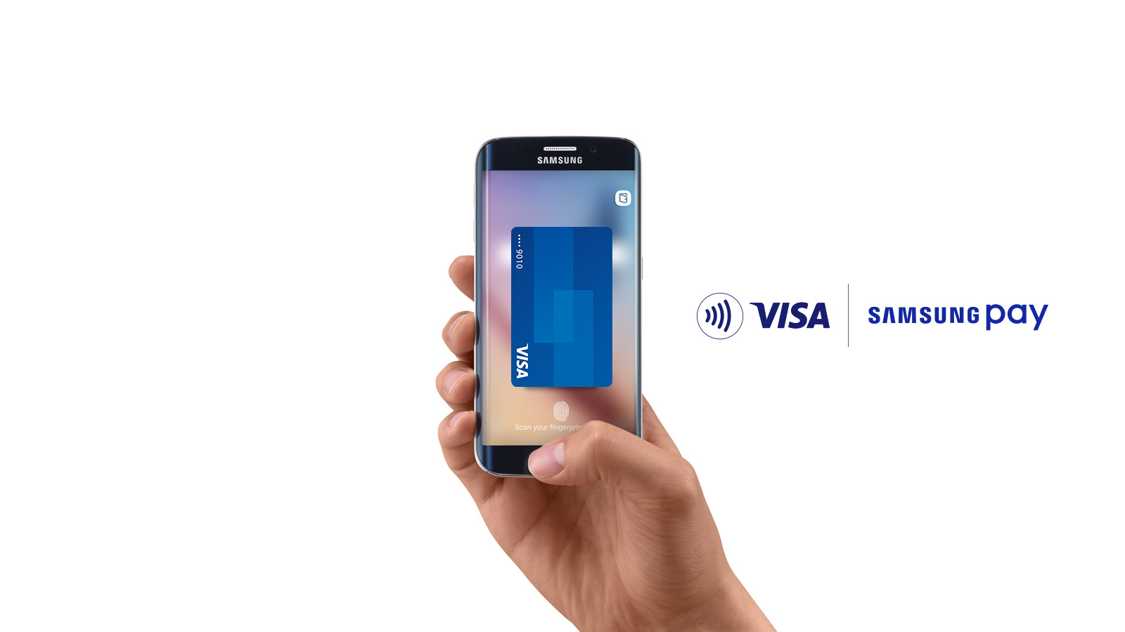 Contactless symbol Visa, Samsung Pay: hand holding Samsung smart phone with an image of a Visa card on the display.
